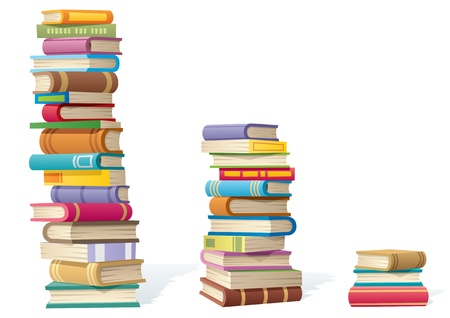 stack of paper: 3 stack of books, different by height. Illustration