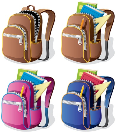 utiles escolares: Una mochila escolar en 4 versiones diferentes. No utilizada la transparencia. B�sicos degradados (lineales).  Vectores