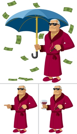 dividend: Cartoon illustration of a rich man in 3 different posessituations. No transparency and gradients used.   Illustration