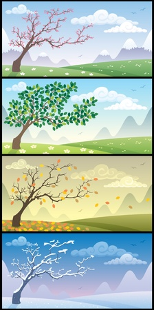 Cartoon landscape during the four seasons. No transparency used. Basic (linear) gradients.