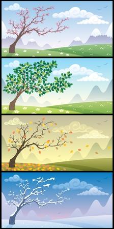 Cartoon landschap tijdens de vier seizoenen. Geen transparantie gebruikt. Basis (lineaire) gradiënten. Vector Illustratie
