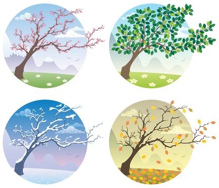 Cartoon Abbildung eines Baumes in den vier Jahreszeiten. Keine Transparenz verwendet. Grundlegende (lineare) Farbverläufe.