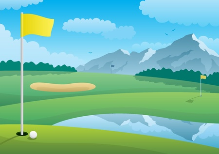 A golf course landscape. No transparency used. Basic (linear) gradients. A4 proportions.  Vector