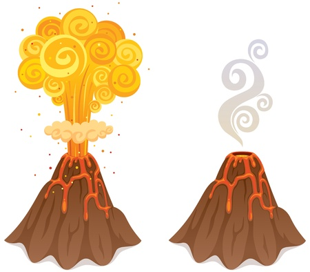Cartoon illustration of a volcano in 2 versions. No transparency used. Basic (linear) gradients.