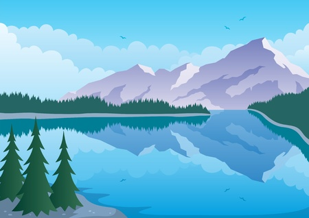Illustrated landscape of mountain and lake.  No transparency used. Basic (linear) gradients. A4 proportions.  Vector