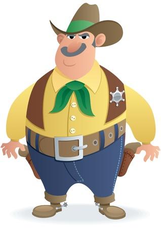 sheriff badge: Ilustraci�n animada de un alguacil. No utilizada la transparencia. B�sicos degradados (lineales).