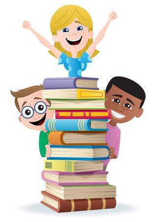 libro caricatura: Libros y ni�os.  No utilizada la transparencia. Degradados (lineales) b�sicos utilizados.  Vectores