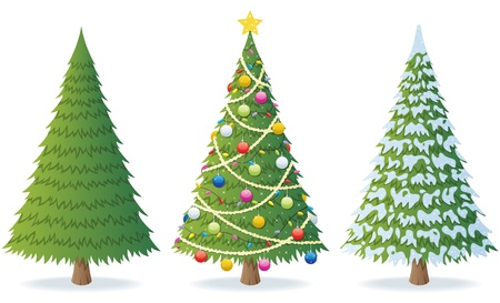 christmas trees: Cartoon illustration of Christmas tree in 3 different situations.  No transparency used. Basic (linear) gradients.  Illustration