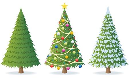 arboles de caricatura: Ilustración de dibujos animados de árbol de Navidad en 3 situaciones diferentes.  No utilizada la transparencia. Básicos degradados (lineales).  Vectores