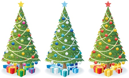 Cartoon illustration of Christmas tree in 3 color versions.  No transparency used. Basic (linear) gradients.