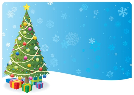 cartoon christmas tree: Cartoon Christmas background with Christmas tree and snow.  No transparency used. Basic (linear) gradients.