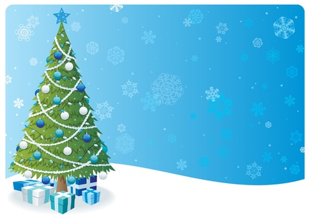 no snow: Cartoon Christmas background with Christmas tree and snow.  No transparency used. Basic (linear) gradients.