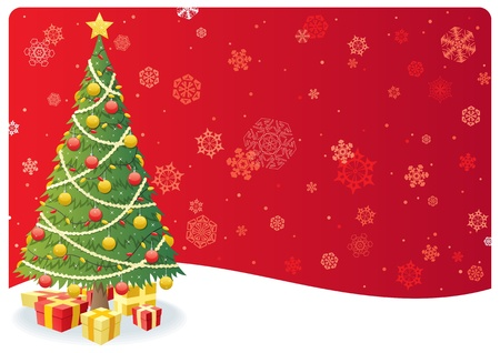 Cartoon Christmas background with Christmas tree and snow.  No transparency used. Basic (linear) gradients.  Vector