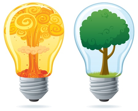 Conceptual illustration of 2 light bulbs, powered by nuclear and by clean energy.  No transparency used. Basic (linear) gradients.