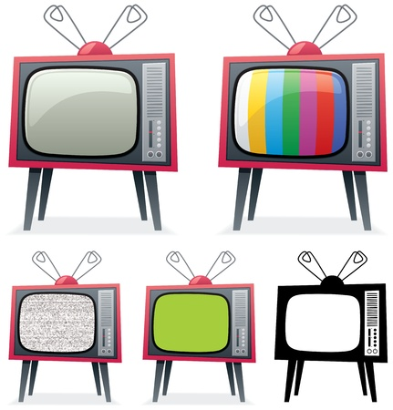 Cartoon illustration of a retro TV in 5 different versions. You can replace the green screen on the 4-th TV with your own picture.  No transparency used. Basic (linear) gradients.  Vector