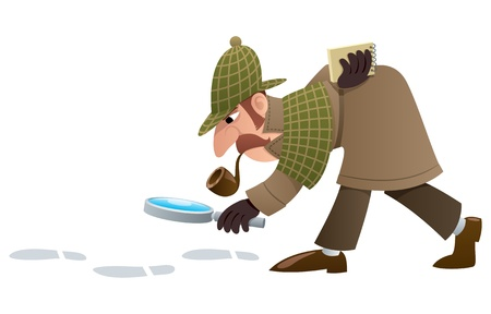 Cartoon illustration of a detective, following footprints.  No transparency used. Basic (linear) gradients.  Vector