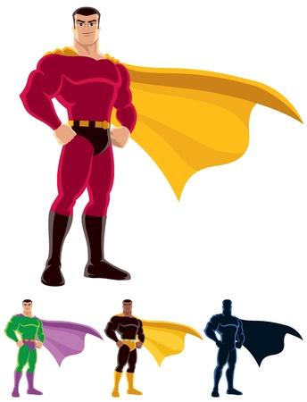 Superhéroe sobre fondo blanco. A continuación se presentan tres versiones adicionales. Uno de ellos es una silueta.  No hay transparencia y degradados utilizados.  Ilustración de vector