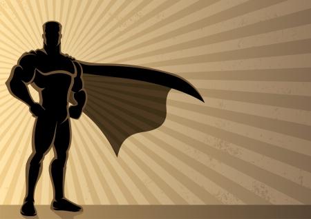 Superheld op een grunge achtergrond met copyspace.  Geen transparantie gebruikt. Basis (lineaire) verlopen gebruikt voor de achtergrond. A4 verhoudingen.  Vector Illustratie