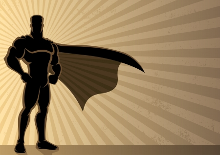 Superhero over a grunge background with copyspace.  No transparency used. Basic (linear) gradients used for the background. A4 proportions.  Vector