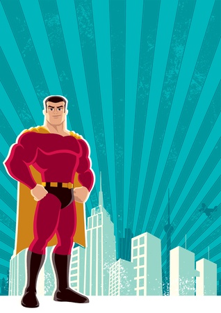Superhero over a grunge background Vector