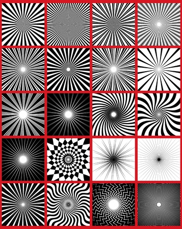 방사상: 20 선 등 패턴의 팩. 광선 자신의 배경을 만들 수를 사용합니다. 일러스트