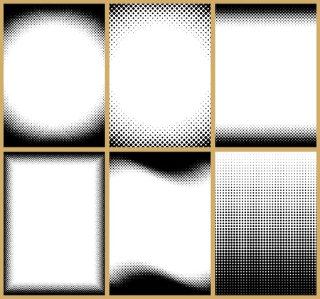 halftone dots: A set of 6 halftone frame patterns. All of them can be tilled vertically. You can also change their height easily.