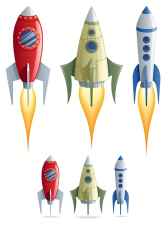 Set of 3 cartoon rockets in 2 versions.  No transparency used. Basic (linear) gradients.  Vector