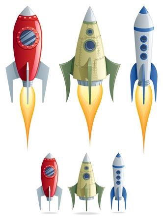 Set van 3 cartoon raketten in 2 versies. Geen transparantie gebruikt. Basis (lineaire) gradiënten. Vector Illustratie