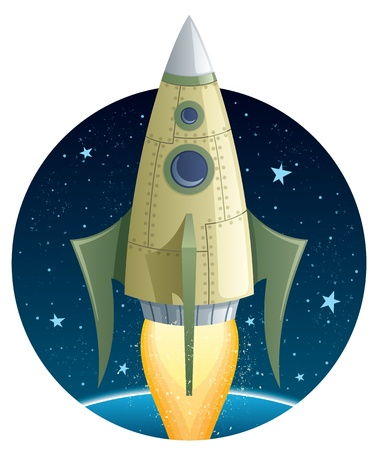 Cartoon illustration of a rocket in space.  No transparency used. Basic (linear) gradients.  Vector