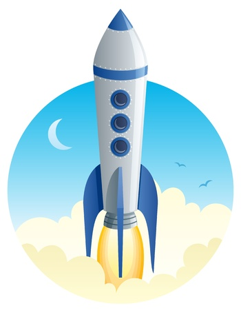 Cartoon illustration of a rocket taking off.  No transparency used. Basic (linear) gradients.  Ilustrace