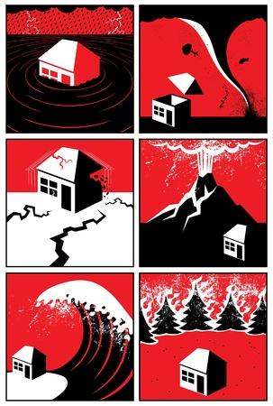 calamiteit: Set van 6 illustraties  iconen van natuurrampen. Geen transparantie en gradiënten.