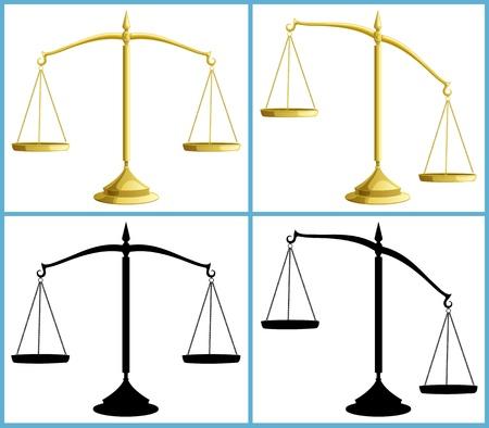 balanza justicia: Peso de la escala en 4 versiones, incluyendo siluetas. No hay transparencia utilizada. B�sico (lineal) pendientes.