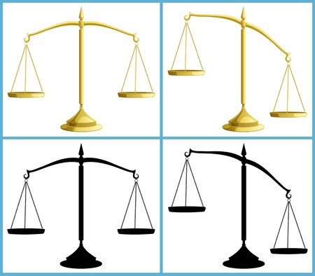 gewicht skala: Waage in 4 Versionen, einschlie�lich Silhouetten. Keine Transparenz verwendet. Basic (linear) Gradienten.