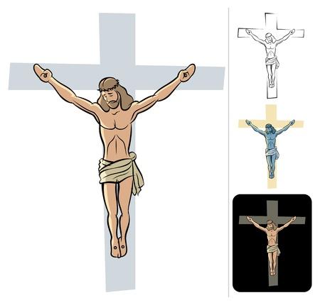 jesus en la cruz: Ilustración de Jesús crucificado