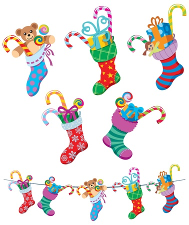 teddy bear christmas: 5 cartoon Christmas stockings over white background.  No transparency and gradients used.  Illustration