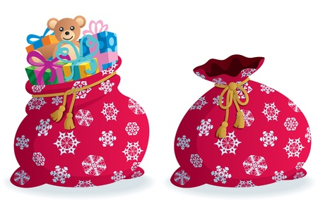 Cartoon illustration of Santa's sack in 2 versions. No transparency used. Basic (linear) gradients.