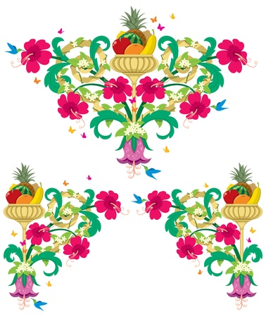 Set of tropical floral design ornaments in retro style. No transparency and gradients used.  Vector