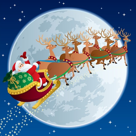 Santa Claus, flying in his sleigh.  No transparency used. Basic (linear) gradients.   Vector