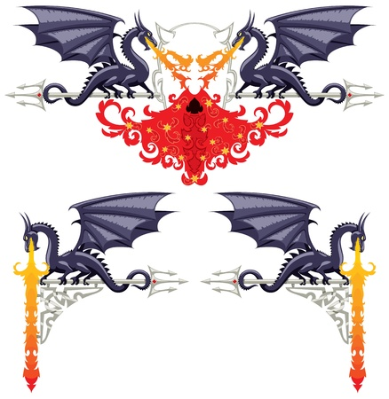 Fantasy floral ornaments with dragons, flames and a devil. No transparency and gradients used.  Vector