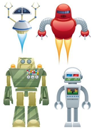 Set of 4 cartoon robots over white background. No transparency used. Basic (linear) gradients.  Vector