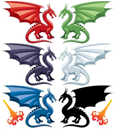 Set of the five most popular kinds of dragons: red, green, blue, black and white. Stylized flames are also included, in case you want to make them breathe fire. No transparency and gradients used.   Vector