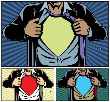 tearing: Superhero under cover, comic book style. Add your logo on the shirt. Colors are very easy to change. No transparency and gradients used.