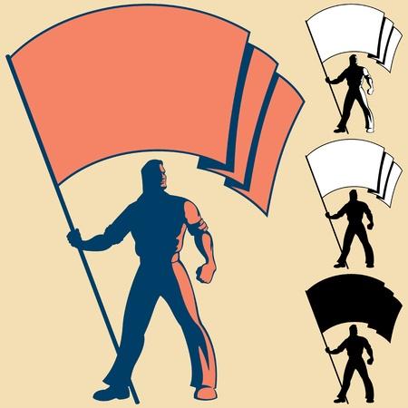 rebeldia: El hombre, que sostiene una bandera. Usted puede colocar los colores de su propia bandera, o poner su logotipo, texto o símbolo en el espacio en blanco. 3 tipos de siluetas también están incluidos.