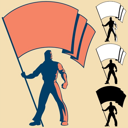 Man, holding a flag. You can place the colors of your own flag, or put your logo, text or symbol in the blank space. 3 types of silhouettes are also included. Illustration