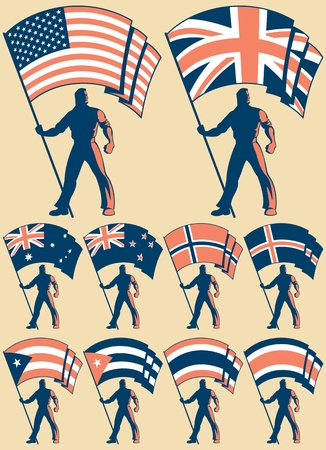Flag bearer in 10 versions, differing by the flag. Flags of: USA, UK, Australia, New Zealand, Norway, Iceland, Cuba, Puerto Rico, Thailand, Costa Rica.   No transparency and gradients used.  Vector