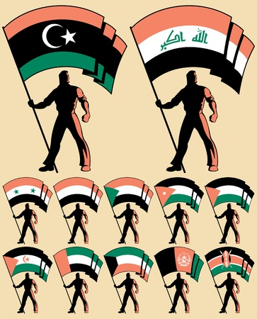 revolution: Flag bearer in 12 versions, differing by the flag. Flags of: Libya, Iraq, Syria, United Arab Emirates, Afghanistan, Palestine, Yemen, Kuwait, Jordan, Sudan, Western Sahara, Sahrawi Arab Democratic Republic, Kenya. No transparency and gradients used.