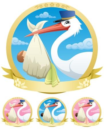 Stork ist die Geburt eines Kindes. Die Abbildung ist in 4 verschiedenen Versionen. Keine Transparenz verwendet. Grundlegende (lineare) Farbverläufe. Vektorgrafik
