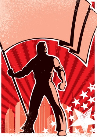 communism: Retro poster with flag bearer. No transparency and gradients used.   Illustration