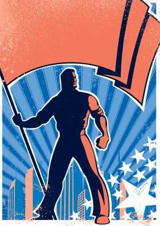 Retro poster with flag bearer. No transparency and gradients used.   Illustration