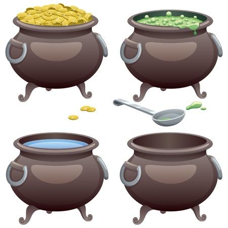 cartoon witches: Pot en 4 versiones diferentes. Sin transparencia utilizada. B�sicas (lineal) gradientes. Vectores
